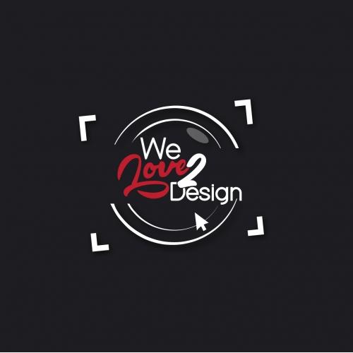 We love 2 design company  logo
