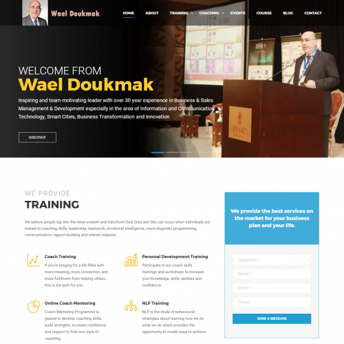Homepage for a professional trainer website