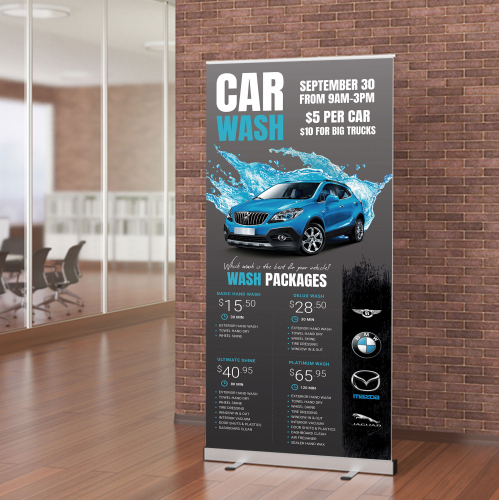 Car Wash Service Roll Up Banner