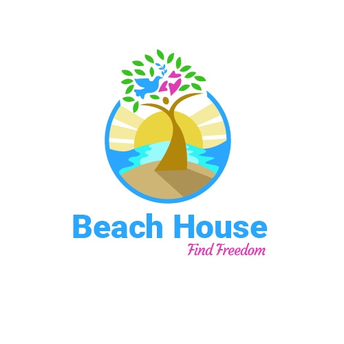 A logo for a rehab center located in a beach