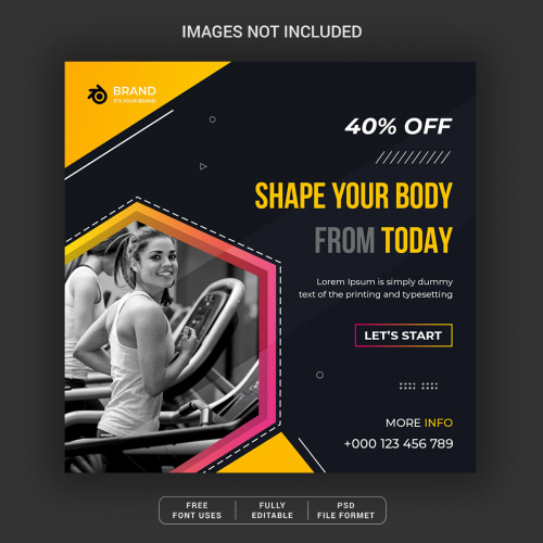 Shape Your Body Social Media Post Template Design