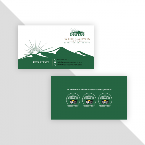 Business card design for a wine tour service provider