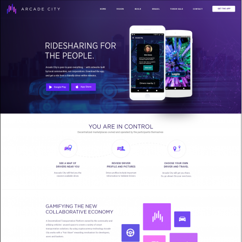 Ride sharing app landing page design