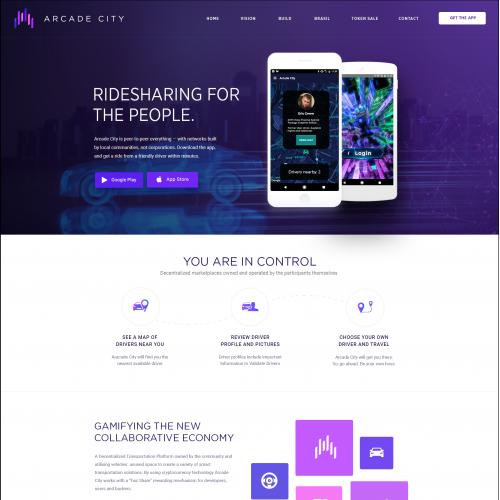 Ride sharing app landing page design