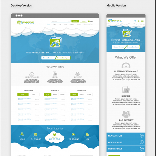 Android file host website design