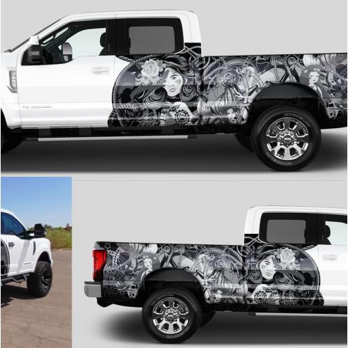 Classy tattoo\' themed truck wrap