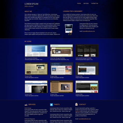 blue Web design, blue landing page design