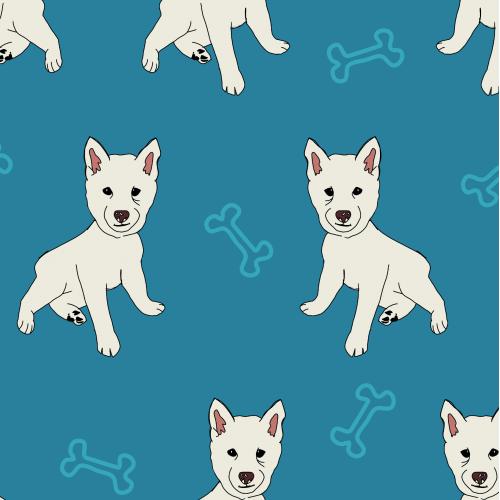 Puppy in Blue