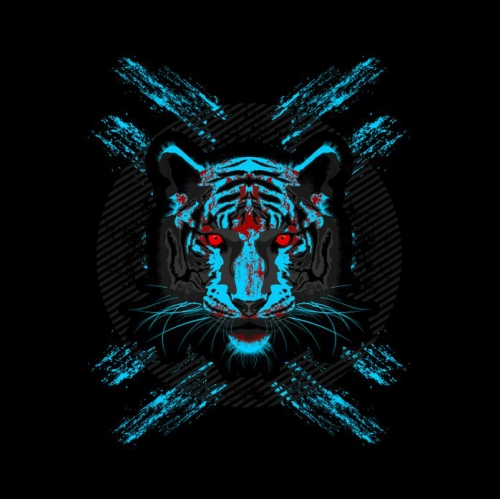 A Fierce Blue Tiger T Shirt Design