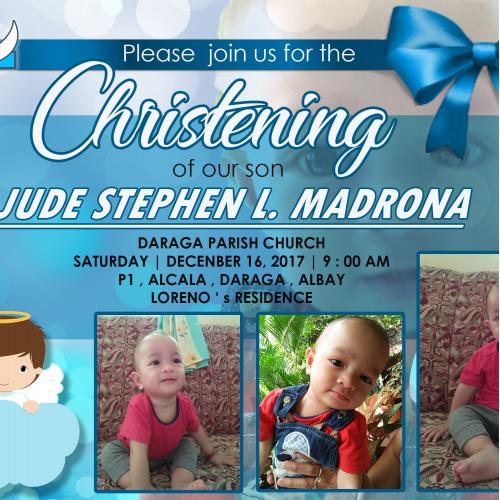 Christening of Jude Stephen Invitation Card