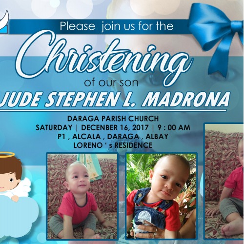 Christening of Jude Stephen Invitation Card