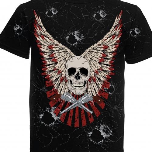Skull with guns Tshirt design
