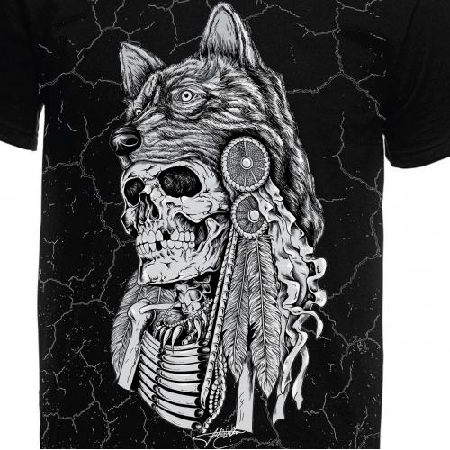 Skull with wolf headdress Tshirt design