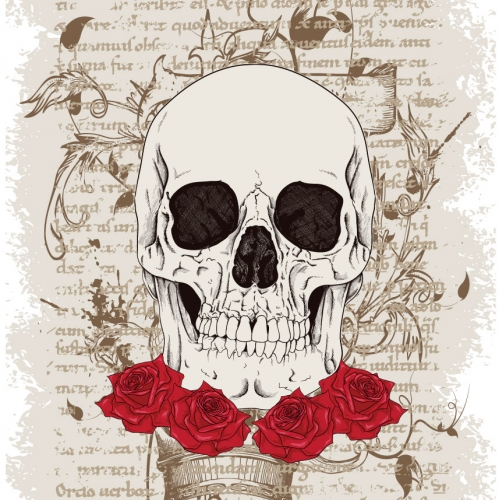 Ancient skull with roses vector illustration