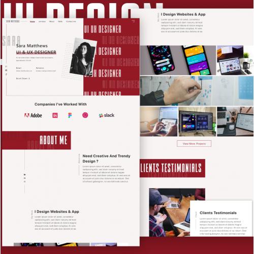 Portfolio landing page for UI UX Designer