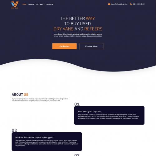 Victory trailer website design