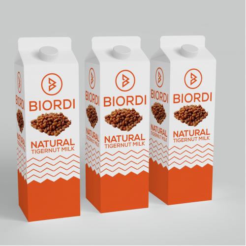 Design the label packaging for TigerNut Milk.