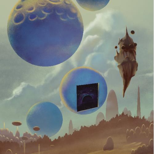 Strange Sci-fi/fantasy art. 60s-70's style. For poster