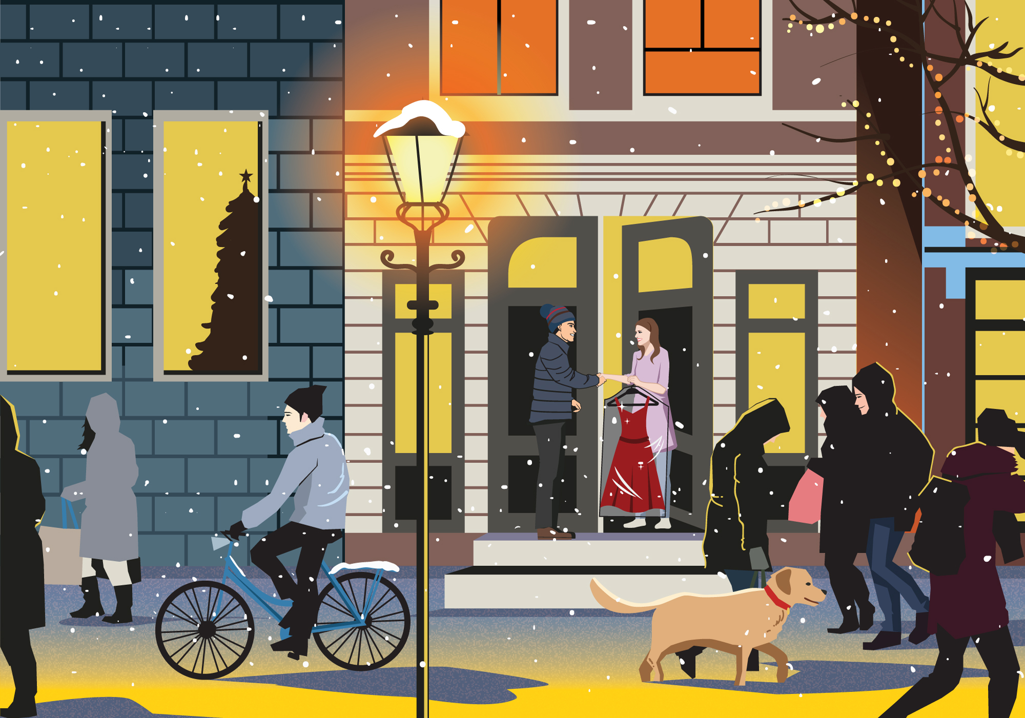 Newyear-and-christmas-card-illustration