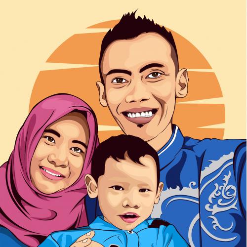 family illustration of vexel art