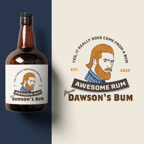 Rum logo with a hipster