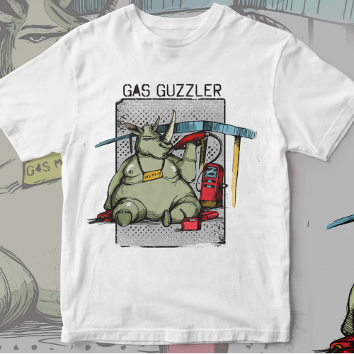 Gas Guzzling Rhinoceros Custom T-Shirt Design
