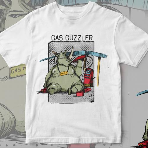 Gas Guzzling Rhinoceros Custom T-Shirt Design