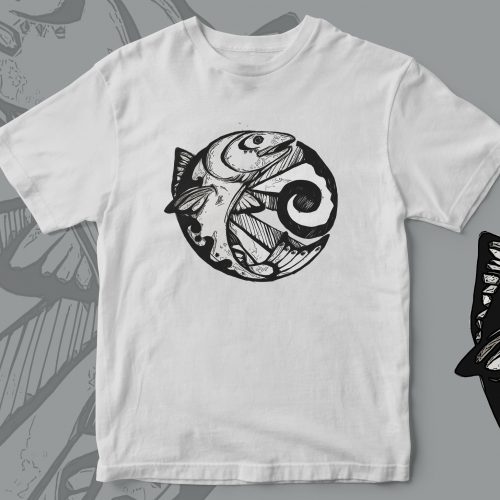 Tribal Salmon Ink Sketch t-shirt design