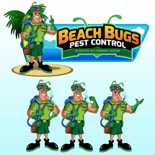 beach bug mascot illustration