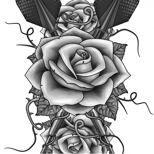 Rose and dart tattoo design