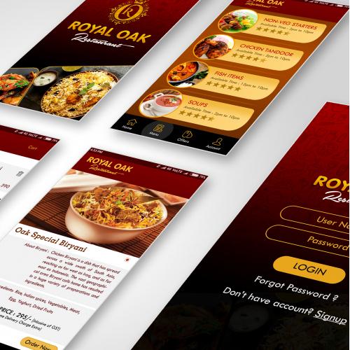 Royal Oak Restaurant App User Interface Design