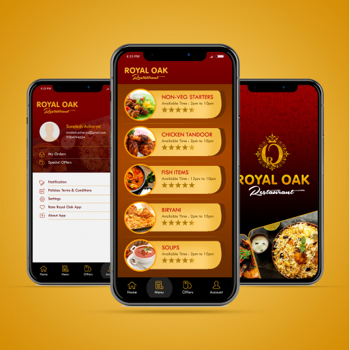 Royal Oak Restaurant App UI Design
