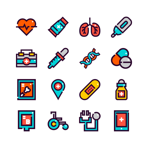 Health and medicine icon set