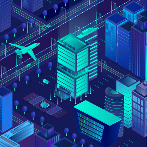 Isometric night city. Banner for web cite