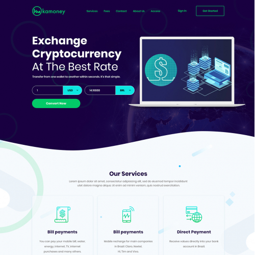 Exchange Cryptocurrency webiste design