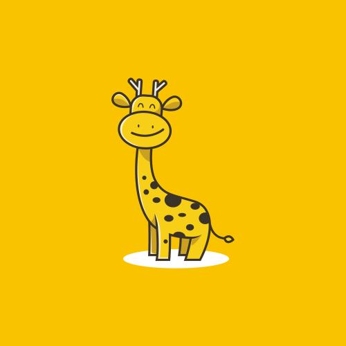 Cute cartoon  design little giraffe