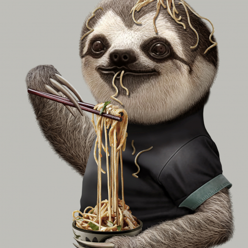 SLOTH LOVES NOODLE