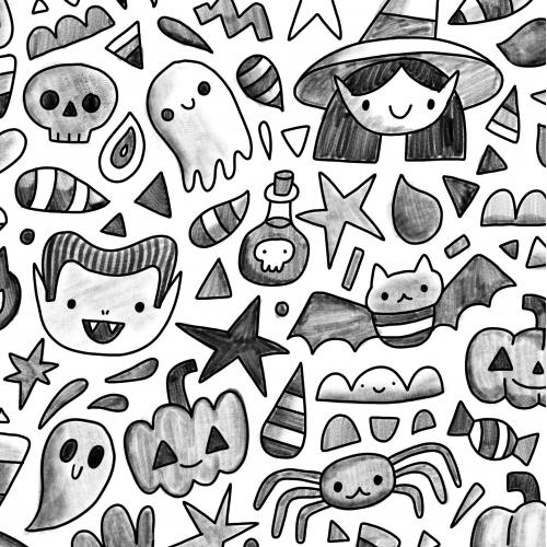 Pencil Happy Halloween fabric textile design pattern