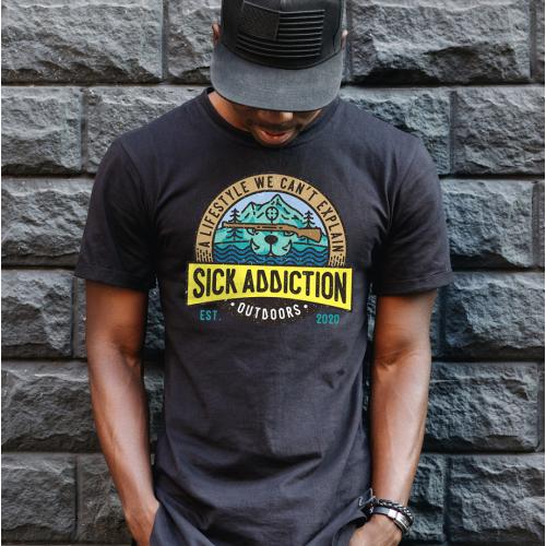 fishing and hunting addicts t-shirt
