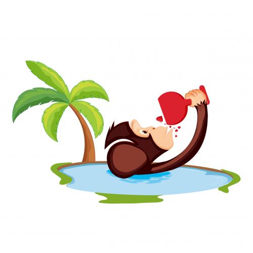 Monkey Into Pool