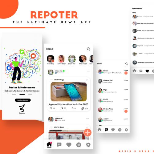 repoter UI iphone design