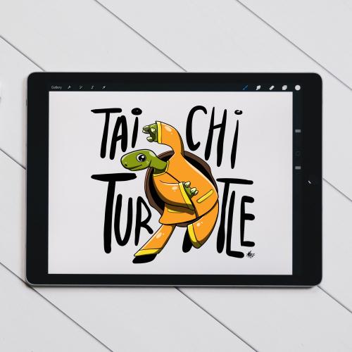 Tai Chi Turtle - Yoga Shirt Illustration