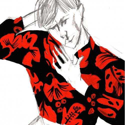 Prada shirt in black and red