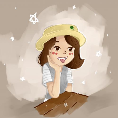 a cute girl wears yellow hat