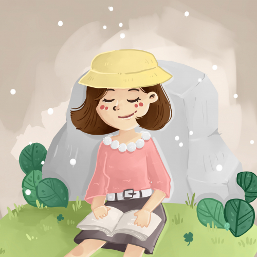 cute girl reading a book in the forest