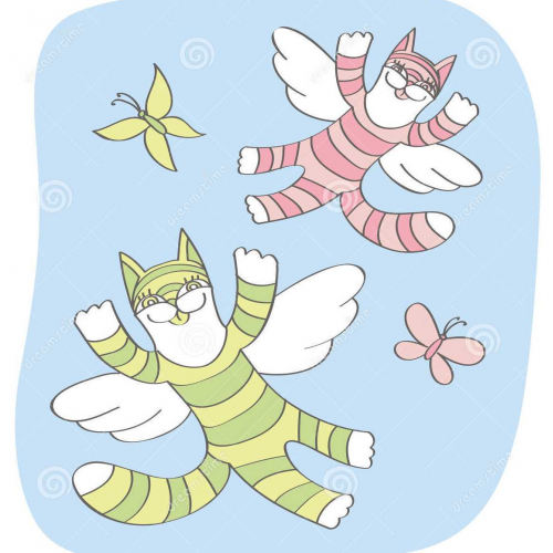 Illustration with flying cats