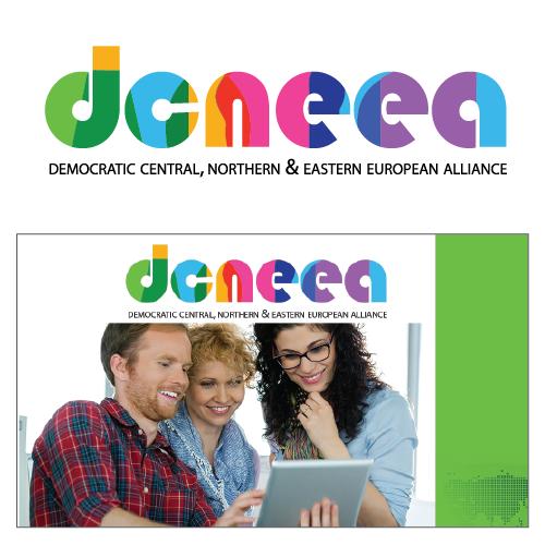 Winner contest logo design with mockup postcard.