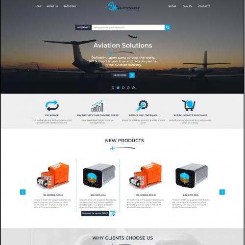 Website design for aircraft parts