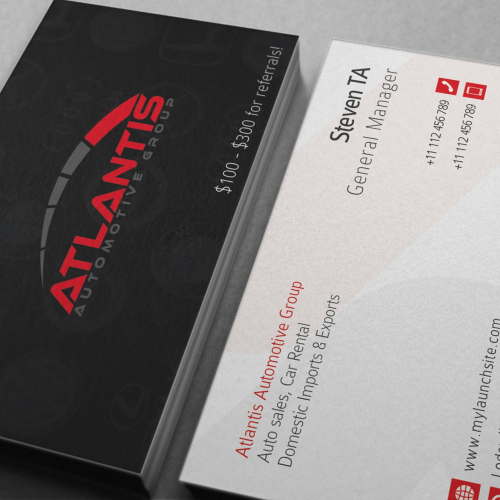 Business Card for Automotive Company.