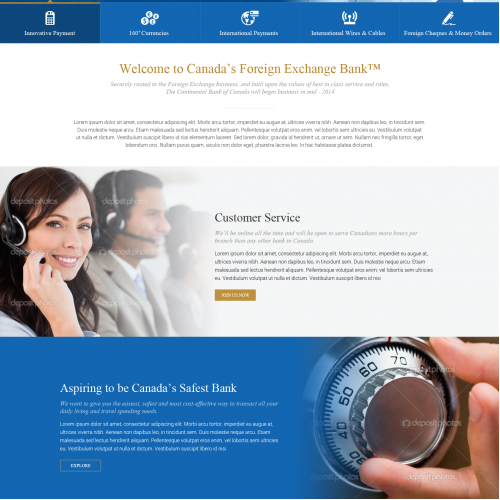 Web Page Design for Bank